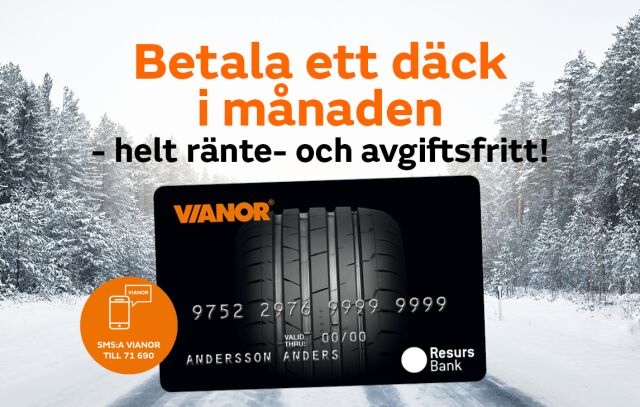 Betala ett däck i månaden med Vianorkortet